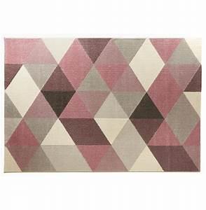 tapis 230 x 160 motifs gomtriques roses valdeano With tapis rose et gris