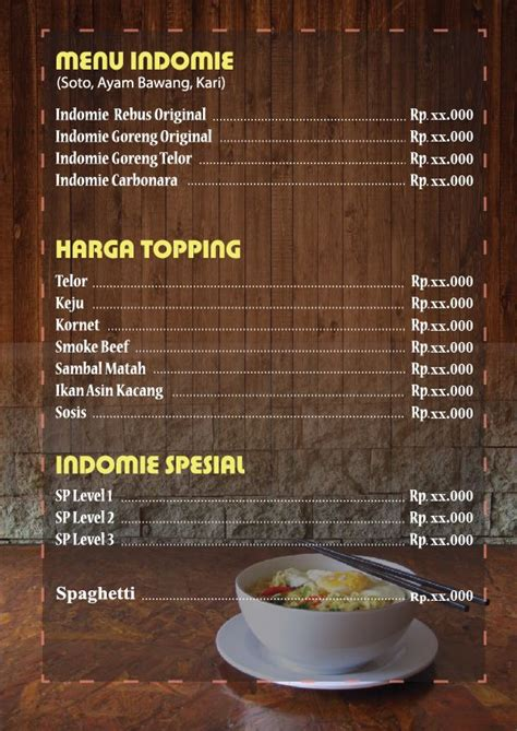 desain menu mie harga desain menu desain makanan ide