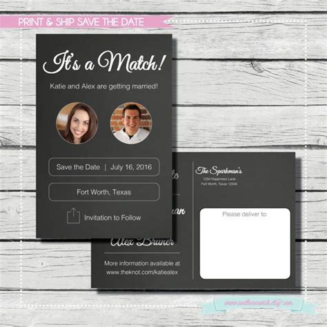 card template tinder it s a match save the date tinder save the date print