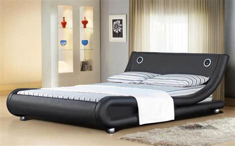 Black Leather Headboard Double by Italian Designer Faux Leather Bed With Bluetooth Speakers