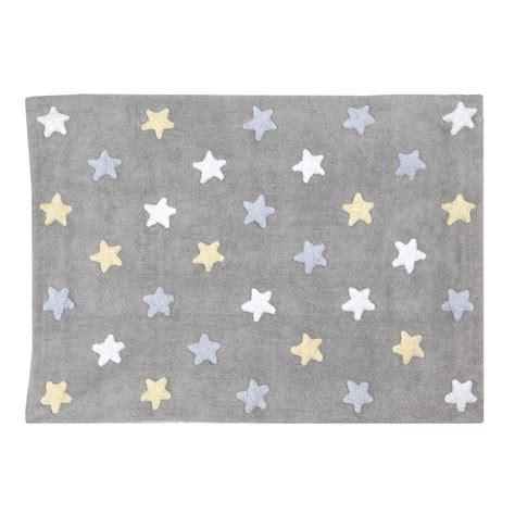 tapis bebe chambre tapis bébé gris en coton lavable etoiles tricolores bleu