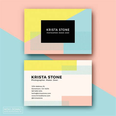 business card template designs pop geometric business