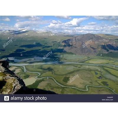 Rapa River delta in Valley Sweden Lapland Sarek