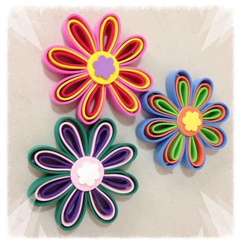 flores de papel fomi flores con tiras de foamy