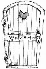 Door Coloring Stampotique Welcome Stamps Rubber Stamp Torrente Printable Template Colouring Window Drawings Upcycled Repurposed Yourself Designlooter Stencil Reused Headboards sketch template