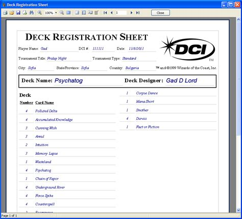Mtg Deck Register Sheet by Deck Registration Sheet Mtg Studio