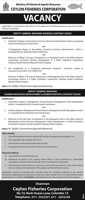 Deputy General Manager (Finance) - Ceylon Fisheries