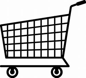 Black Shopping Cart Silhouette - Free Clip Art
