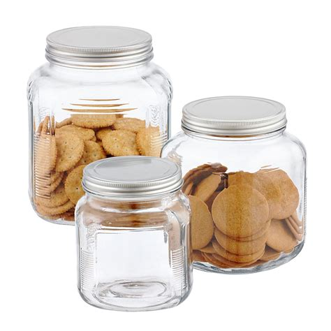 kitchen glass storage jars glass jars with lids anchor hocking glass cracker jars 4916