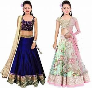 Clickedia Kids Wear Girls Net Combo Set Of 2 Lehenga Choli