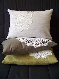 sew pretty lace doilies onto plain cheap pillows maybe With cheap pretty pillows