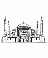 Coloring Medieval Istanbul Hagia Sophia Church Mosque Architecture Sheets Drawing Churches Ayasofya Fantasy Pages Sofia Draw Turkey Perspective Roman sketch template