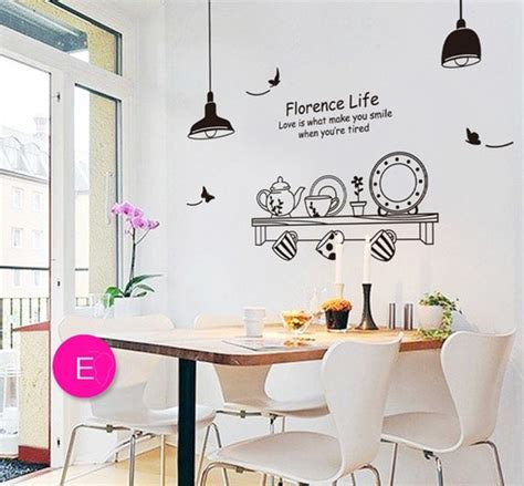 artificial plates wall stickers home coffee shop