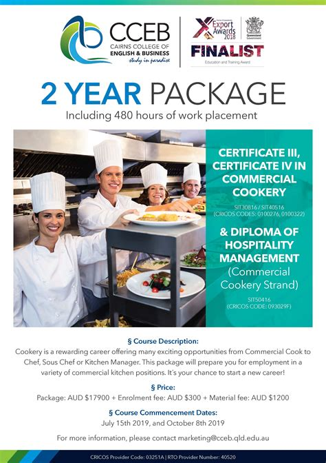 years package certificate  commercial cookery