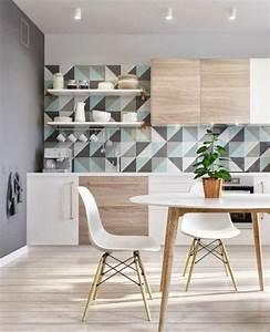 Le papier peint geometrique en 50 photos avec ides for Idee deco cuisine avec meuble salon style scandinave
