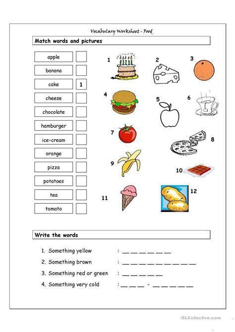 vocabulary matching worksheet food worksheet  esl