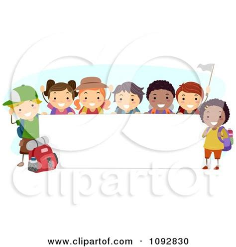 happy diverse summer c children by a blank banner posters art prints by bnp design studio