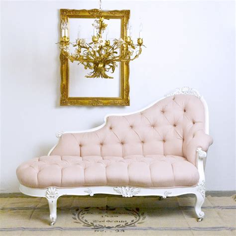 Shabby Chic Settee Furniture by Tufted Pink Chaise Lounge 1195 00 Thebellacottage