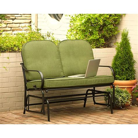hton bay fall river patio glider with moss