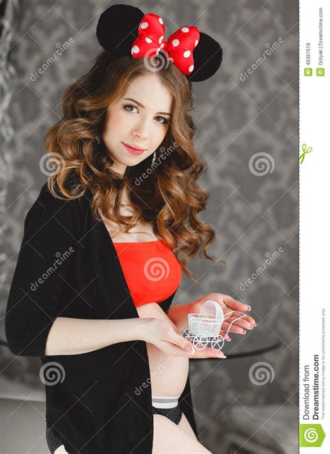 Pregnant Woman With Red Bow Stock Photo Image 49397618