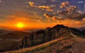 Golden Sunset Mountains Path wallpapers | Golden Sunset ...