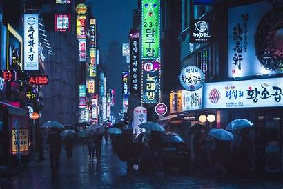 Seoul Rainy Street Downtown Wallpapers Aesthetic 4k