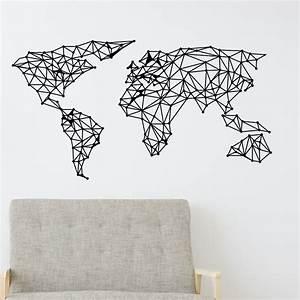 Carte Du Monde Design : sticker origami carte du monde stickers art et design artistiques ambiance sticker ~ Teatrodelosmanantiales.com Idées de Décoration
