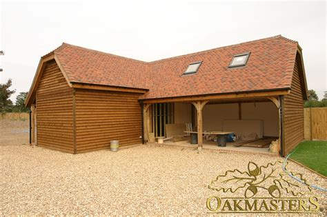 3bay Open Lshaped Oak Garage And Outbuilding Oakmasters