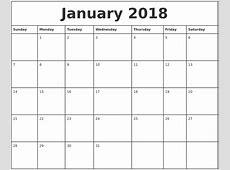 January 2018 Printable Monthly Calendar