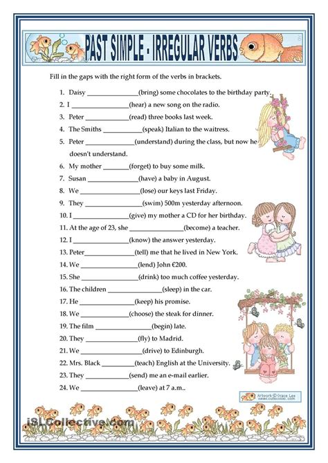 past simple irregular verbs free esl worksheets past