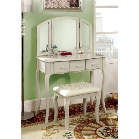 Bedroom Vanity Set White furniture of america lerraine bedroom vanity set white