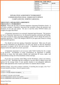 separation agreement template nc non disclosure form template business