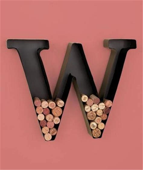 wine cork holder wall decor unique metal monogram letter shaped initial wine cork