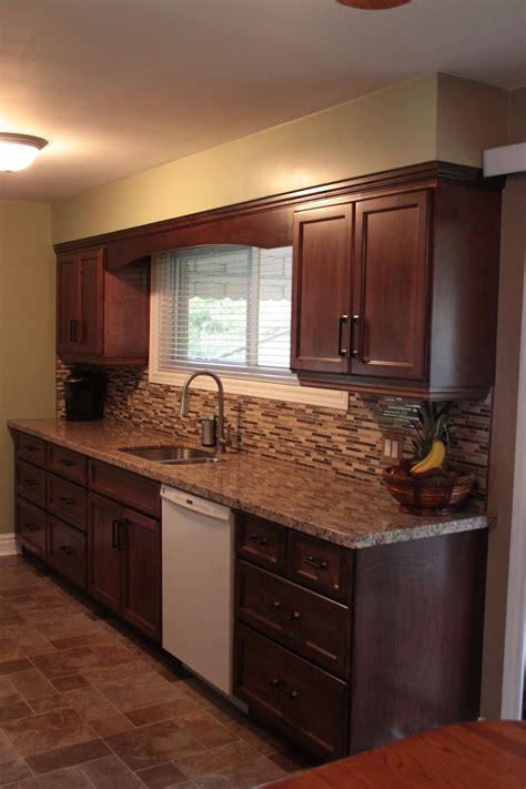 red mahogany kitchen   years  custom cabinets