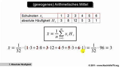 gewogenes arithmetisches mittel youtube