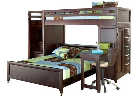 full over desk bunk bed ivy league cherry twin full step loft bunk with chest and