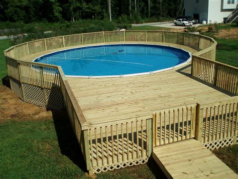 pine wood pool deck for round above ground pool of 13