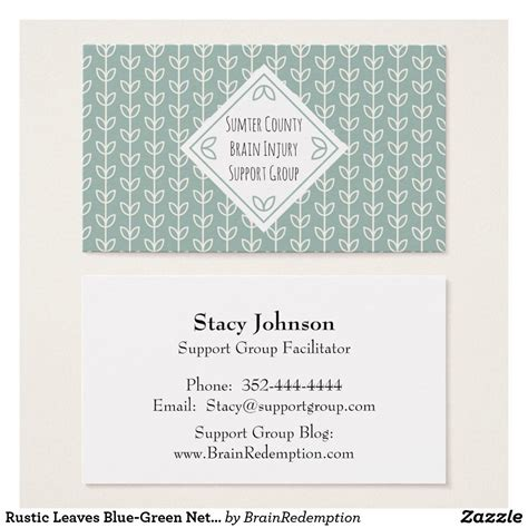 rustic leaves blue green networking card zazzlecom