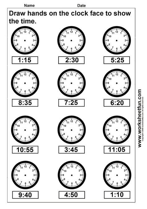 clocks   hands   grade math time draw