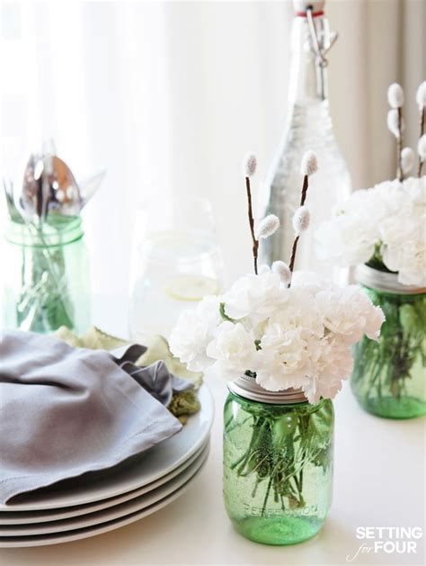 and easy jar centerpieces setting for four