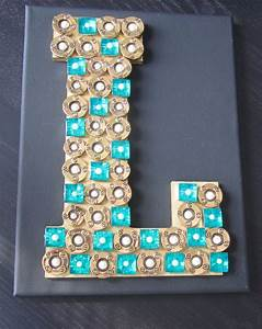 l wooden letter with buttons on canvas monogram wall art With canvas letters for wall