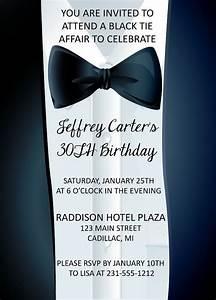 Adult Birthday Invitation Black