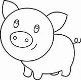 Pig Coloring Clip Clipart Line Sweetclipart sketch template