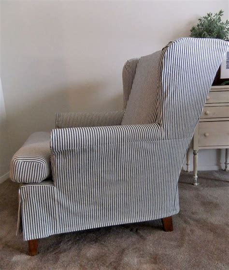 wingback chair slipcover casual ticking slipcover for a comfy wingback chair