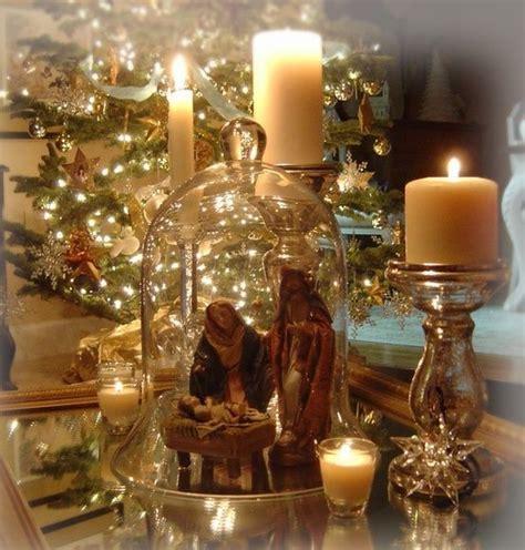 nativity scene cloche christmas trees decorations