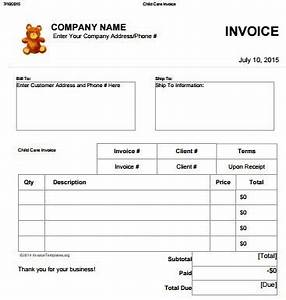 27 day care invoice template collection demplates for Free printable daycare invoice template