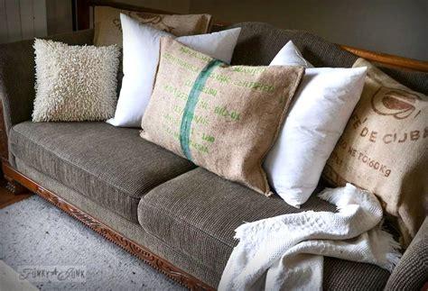 sew burlap coffee bean sack sofa pillowsfunky junk