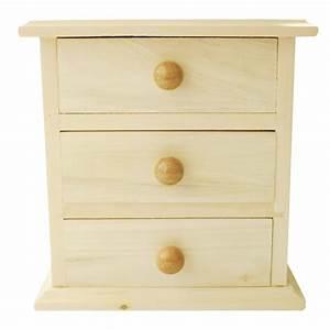Meuble miniature en bois 3 tiroirs 16x9x14cm graines for Meuble miniature en bois