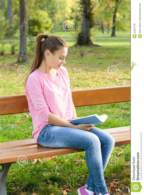 Student Girl Reading Book Stock Photo Image Of Park 34427770