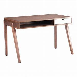 Contemporary Wooden Office Desk in Walnut Finish with